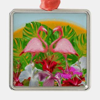 Ornamento De Metal Flamingo