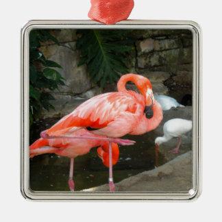 Ornamento De Metal Flamingo cor-de-rosa