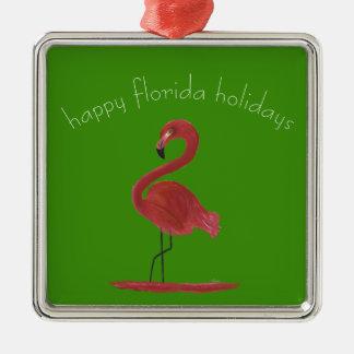 Ornamento De Metal Flamingo cor-de-rosa lunático e Flirty de Florida