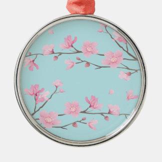 Ornamento De Metal Flor de cerejeira - azul-céu