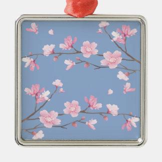 Ornamento De Metal Flor de cerejeira - azul da serenidade