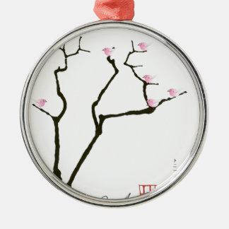 Ornamento De Metal flor de sakura e pássaros cor-de-rosa, fernandes