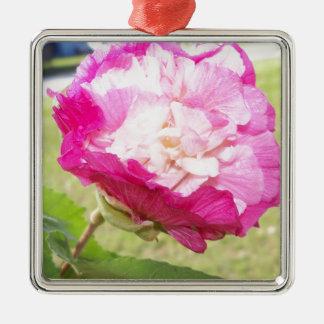 Ornamento De Metal flor variável do rosa e a branca do hibiscus
