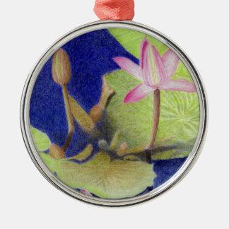 Ornamento De Metal Flores cor-de-rosa de Lotus Waterlily