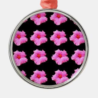 Ornamento De Metal Flores cor-de-rosa do hibiscus no preto, _