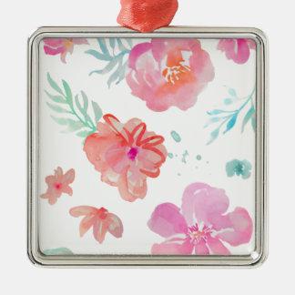 Ornamento De Metal Flores cor-de-rosa românticas da aguarela