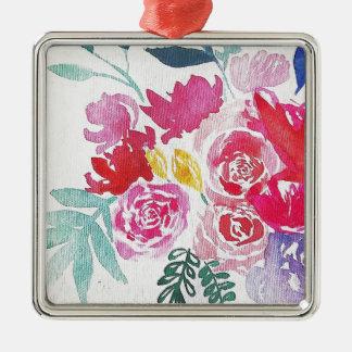 Ornamento De Metal Flores da aguarela