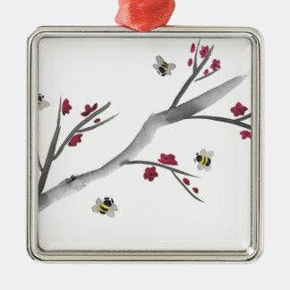 Ornamento De Metal Flores e abelhas