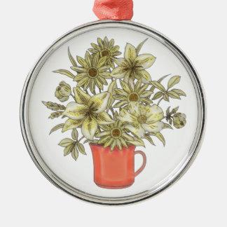 Ornamento De Metal Flores na caneca de café 1