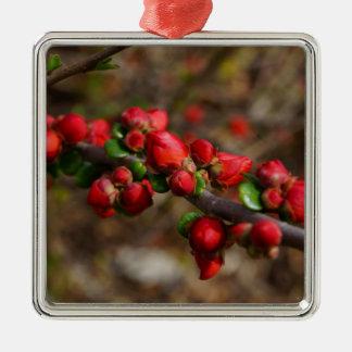 Ornamento De Metal Flores vermelhas arborizados