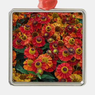Ornamento De Metal Flores vermelhas e alaranjadas do helenium