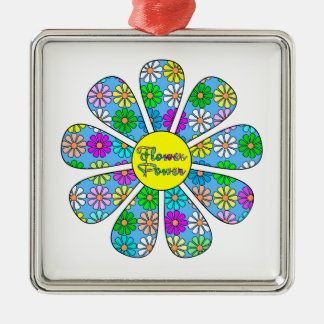 Ornamento De Metal Flower power feliz