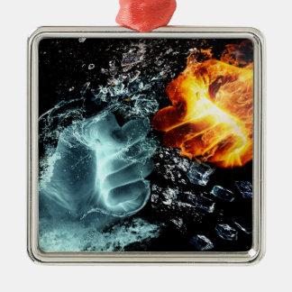 Ornamento De Metal Fogo e água