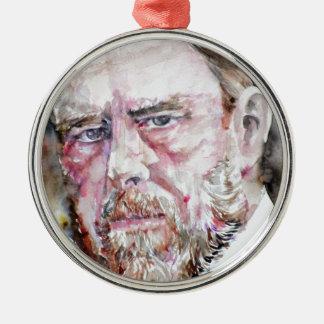 Ornamento De Metal FOGUISTA de BRAM - retrato da aguarela