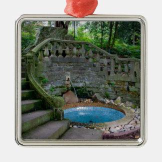 Ornamento De Metal Fonte azul do jardim