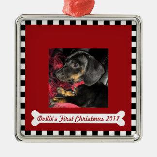 Ornamento De Metal Foto do ~ do Natal do cão primeira