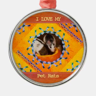 Ornamento De Metal Foto feita sob encomenda do rato eu amo meus ratos