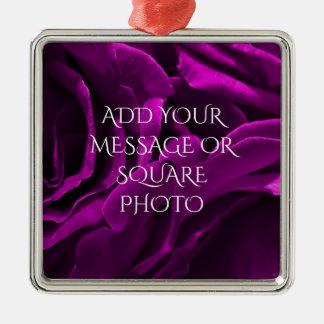 Ornamento De Metal Foto floral dos rosas roxos românticos