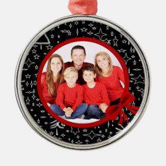 Ornamento De Metal Foto preta e vermelha moderna do costume do Natal