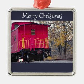 Ornamento De Metal Foto vermelha do trem do Caboose
