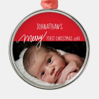 Ornamento De Metal Foto vermelha e branca do primeiro Natal da feliz