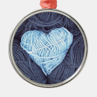 Ornamento De Metal Fotografia bonita do coração azul de lãs