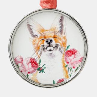 Ornamento De Metal Foxy feliz e rosas