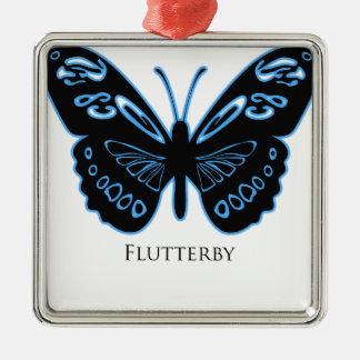 Ornamento De Metal Fulgor azul preto de Flutterby
