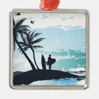 Ornamento De Metal Fundo do surfista do verão da palma