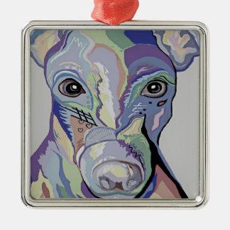 Ornamento De Metal Galgo em cores da sarja de Nimes