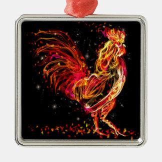 Ornamento De Metal Galo do fogo. Design legal da faísca animal