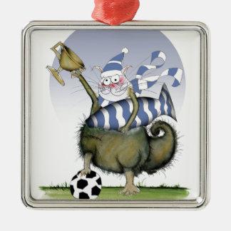 Ornamento De Metal gatinho dos azuis do futebol