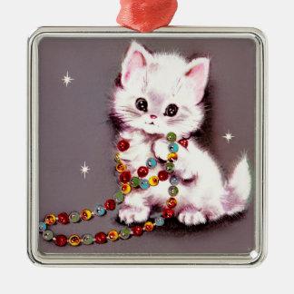 Ornamento De Metal Gatinho malva persa do gato branco do natal