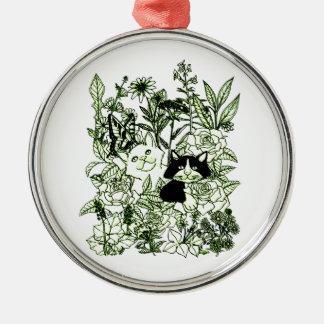 Ornamento De Metal Gatinhos nos Wildflowers