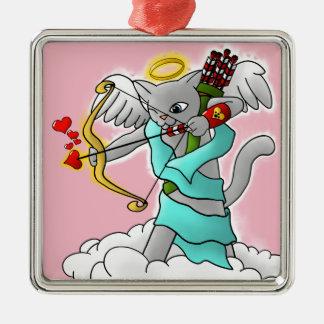 Ornamento De Metal Gato cinzento do Cupido de Smokey do dia dos