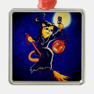 Ornamento De Metal Gato da bruxa da noite