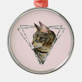 Ornamento De Metal Gato de gato malhado com quadro do brilho da prata