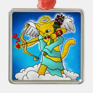 Ornamento De Metal Gato do Cupido do amarelo do gengibre do dia dos
