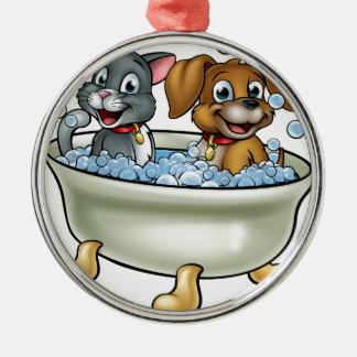 Ornamento De Metal Gato e cão dos desenhos animados no banho