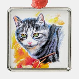 Ornamento De Metal Gato listrado cinzento