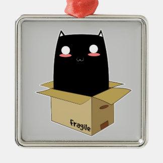 Ornamento De Metal Gato preto em uma caixa