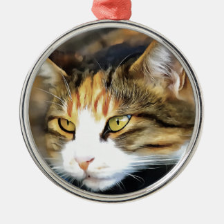 Ornamento De Metal Gato satisfeito
