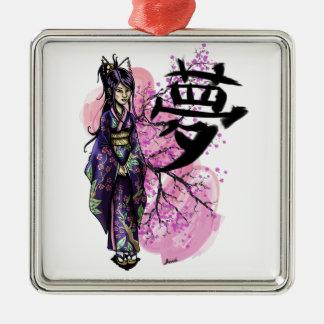 Ornamento De Metal Geisha