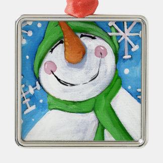 Ornamento De Metal Gelado o boneco de neve feliz