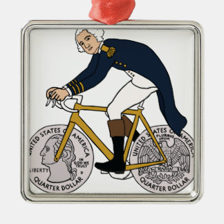 Ornamento De Metal George Washington na bicicleta com rodas de um