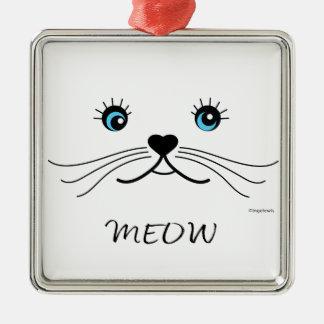 Ornamento De Metal Gráfico da cara do MEOW-Gato legal