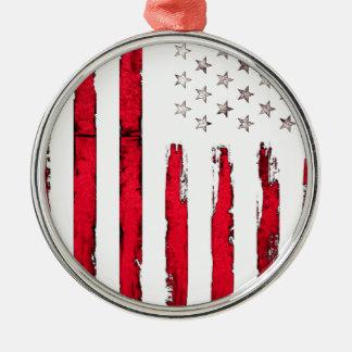 Ornamento De Metal Grunge do vermelho da bandeira americana