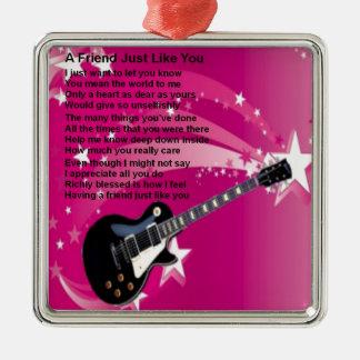 Ornamento De Metal Guitarra - poema cor-de-rosa do amigo