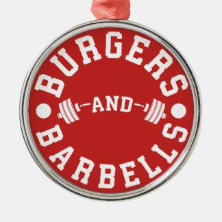 Ornamento De Metal Hamburgueres e Barbells - exercício engraçado