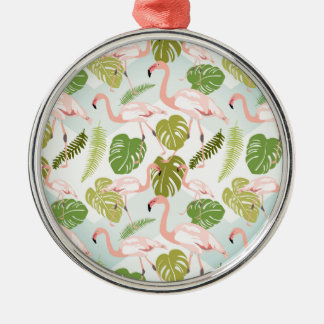 Ornamento De Metal Hand drawn pink flamingo and monstera leaves. Seam